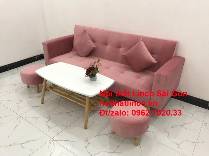 Bộ ghế sofa giường giá rẻ | Salong sopha màu hồng phấn đẹp phòng khách9