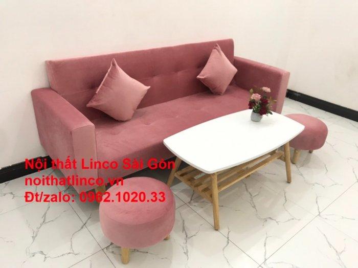 Bộ ghế sofa giường giá rẻ | Salong sopha màu hồng phấn đẹp phòng khách8