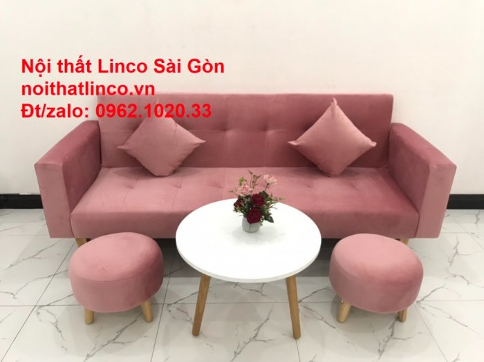 Bộ ghế sofa giường giá rẻ | Salong sopha màu hồng phấn đẹp phòng khách7