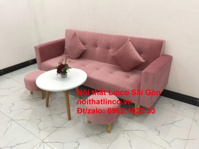 Bộ ghế sofa giường giá rẻ | Salong sopha màu hồng phấn đẹp phòng khách6