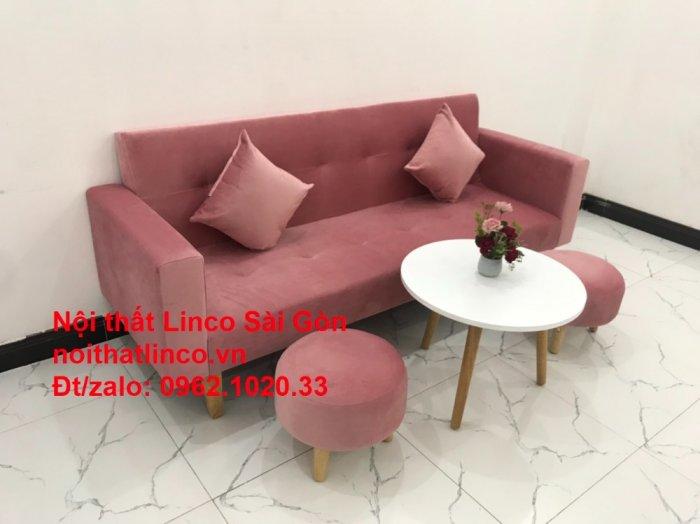 Bộ ghế sofa giường giá rẻ | Salong sopha màu hồng phấn đẹp phòng khách5