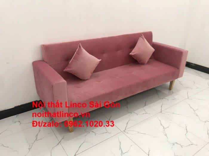 Bộ ghế sofa giường giá rẻ | Salong sopha màu hồng phấn đẹp phòng khách2