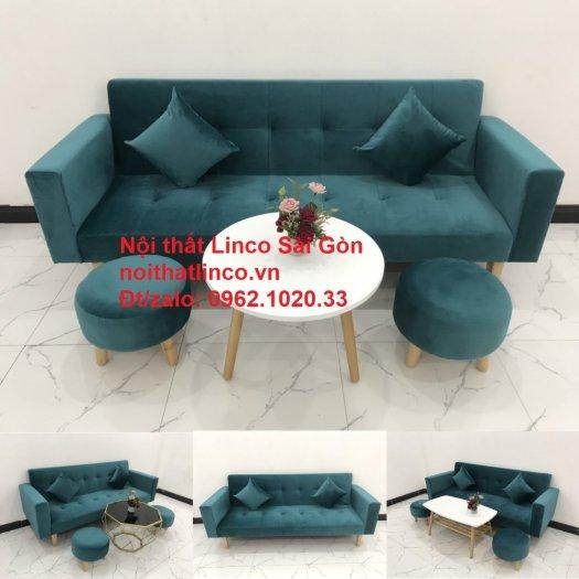 Bộ ghế salon sopha giường rẻ   Sofa màu xanh lá cây đậm phòng khách14