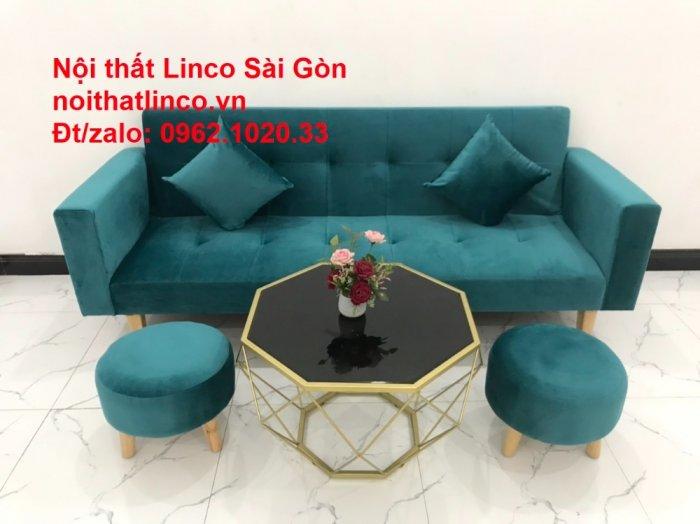 Bộ ghế salon sopha giường rẻ   Sofa màu xanh lá cây đậm phòng khách13