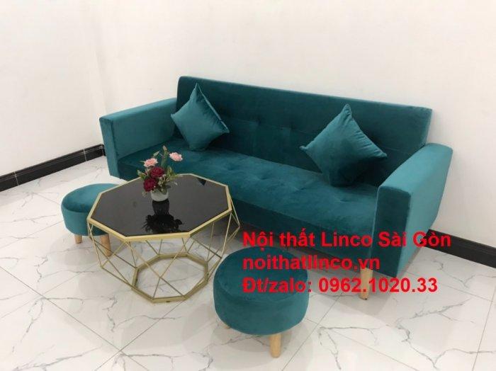 Bộ ghế salon sopha giường rẻ   Sofa màu xanh lá cây đậm phòng khách12