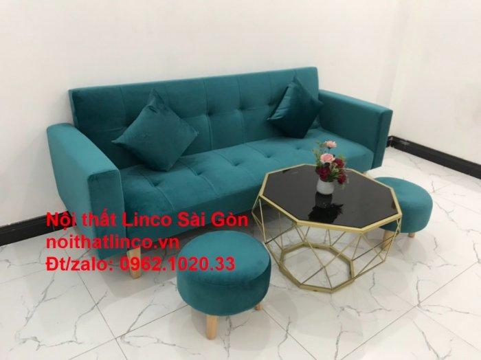 Bộ ghế salon sopha giường rẻ   Sofa màu xanh lá cây đậm phòng khách11