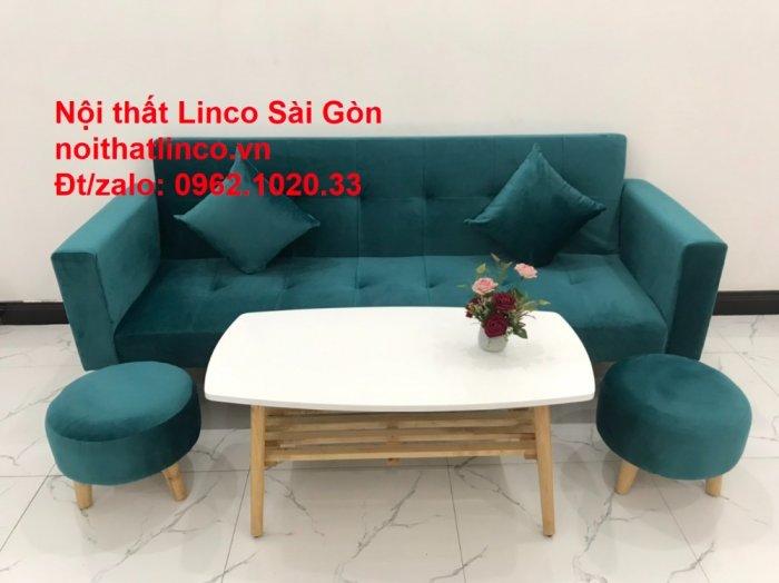 Bộ ghế salon sopha giường rẻ   Sofa màu xanh lá cây đậm phòng khách10
