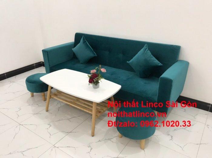 Bộ ghế salon sopha giường rẻ   Sofa màu xanh lá cây đậm phòng khách9