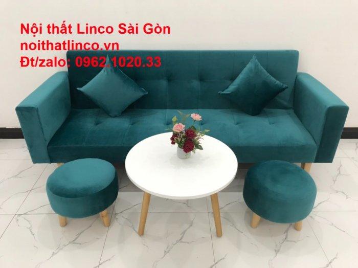 Bộ ghế salon sopha giường rẻ   Sofa màu xanh lá cây đậm phòng khách7