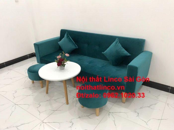Bộ ghế salon sopha giường rẻ   Sofa màu xanh lá cây đậm phòng khách6