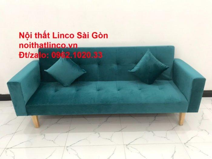 Bộ ghế salon sopha giường rẻ   Sofa màu xanh lá cây đậm phòng khách4