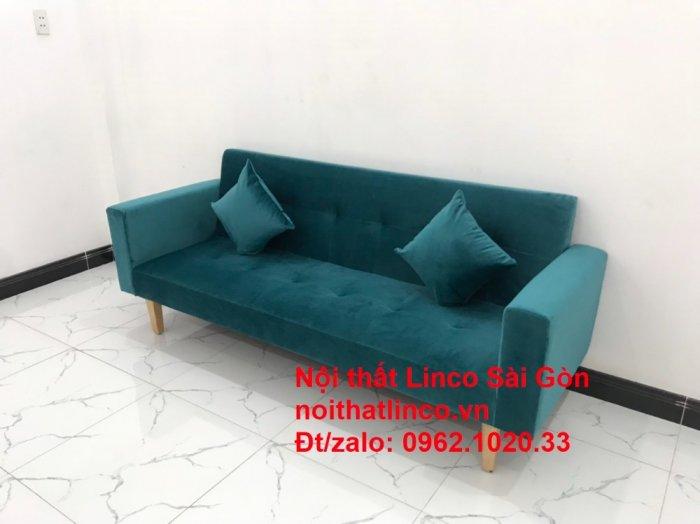 Bộ ghế salon sopha giường rẻ   Sofa màu xanh lá cây đậm phòng khách3