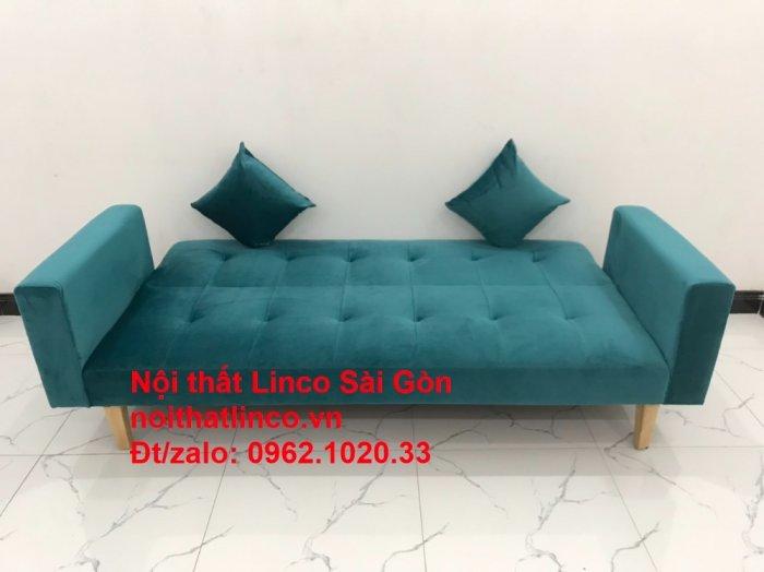 Bộ ghế salon sopha giường rẻ   Sofa màu xanh lá cây đậm phòng khách1