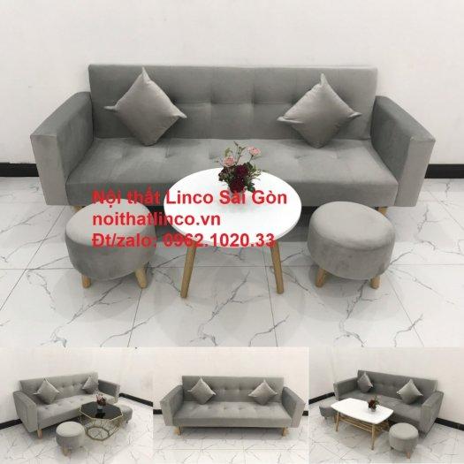 Bộ bàn ghế salon giá rẻ   sofa giường nằm nhỏ gọn xám nhung14