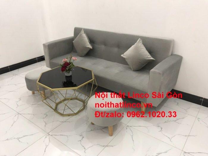 Bộ bàn ghế salon giá rẻ   sofa giường nằm nhỏ gọn xám nhung12