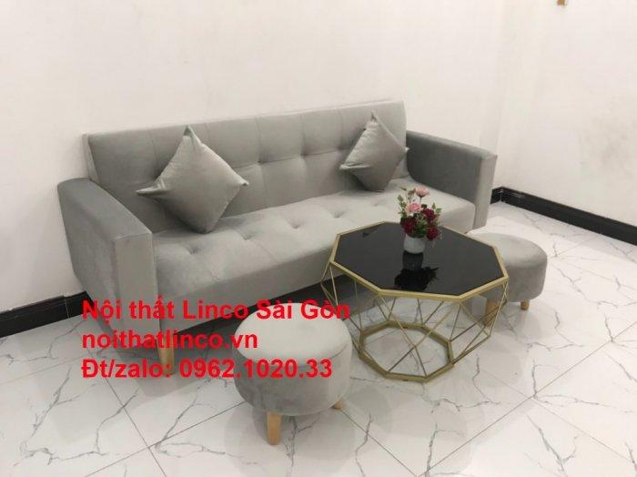 Bộ bàn ghế salon giá rẻ   sofa giường nằm nhỏ gọn xám nhung11