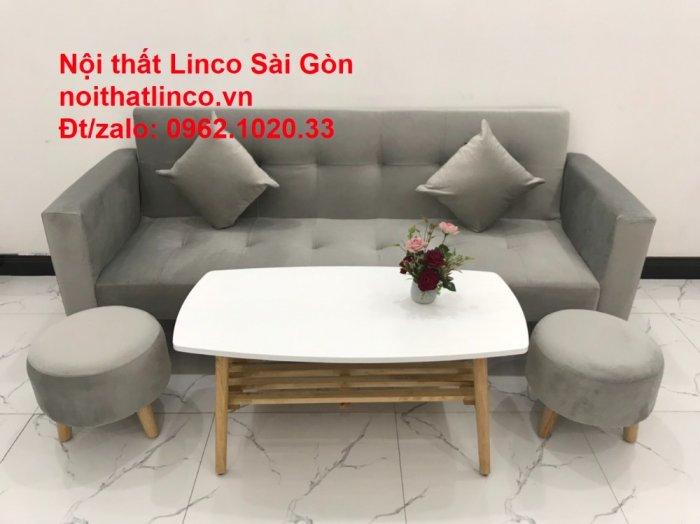 Bộ bàn ghế salon giá rẻ   sofa giường nằm nhỏ gọn xám nhung10