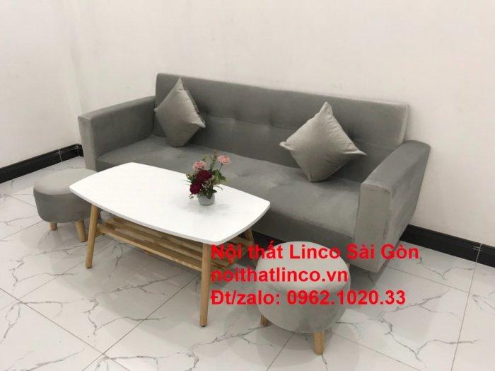 Bộ bàn ghế salon giá rẻ   sofa giường nằm nhỏ gọn xám nhung9