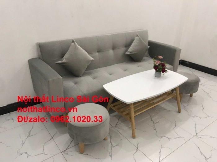 Bộ bàn ghế salon giá rẻ   sofa giường nằm nhỏ gọn xám nhung8