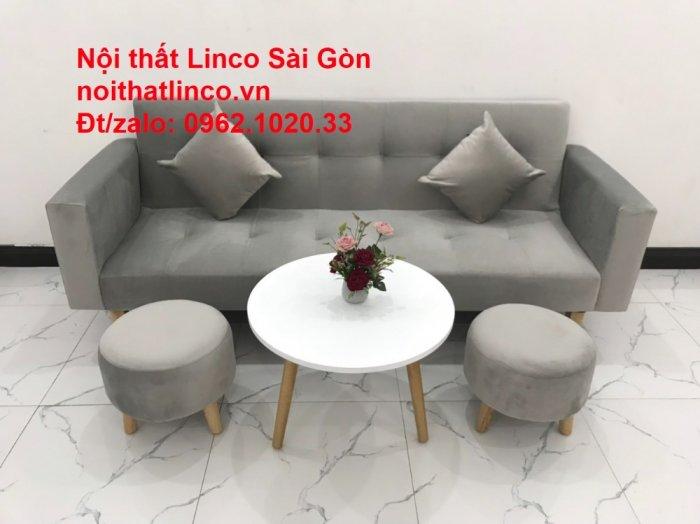 Bộ bàn ghế salon giá rẻ   sofa giường nằm nhỏ gọn xám nhung7