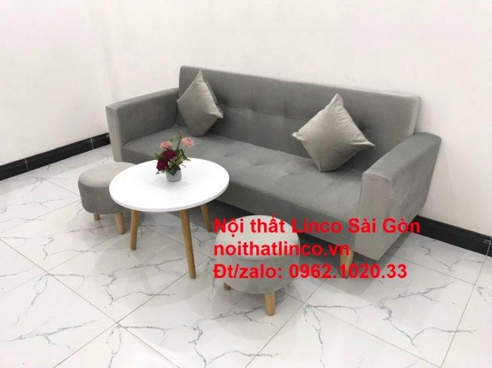 Bộ bàn ghế salon giá rẻ   sofa giường nằm nhỏ gọn xám nhung6