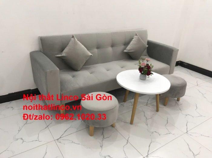 Bộ bàn ghế salon giá rẻ   sofa giường nằm nhỏ gọn xám nhung5