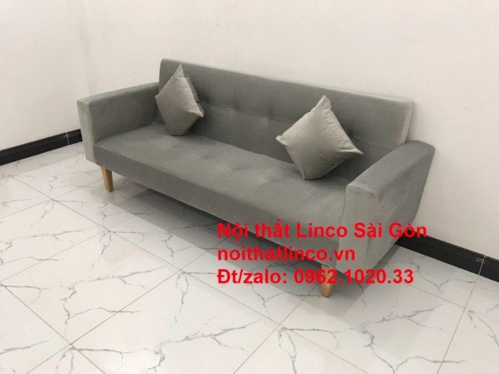 Bộ bàn ghế salon giá rẻ   sofa giường nằm nhỏ gọn xám nhung3