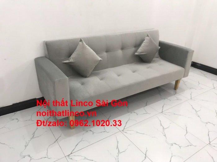 Bộ bàn ghế salon giá rẻ   sofa giường nằm nhỏ gọn xám nhung2