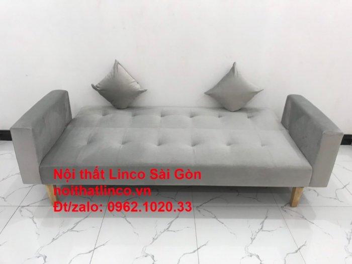 Bộ bàn ghế salon giá rẻ   sofa giường nằm nhỏ gọn xám nhung1