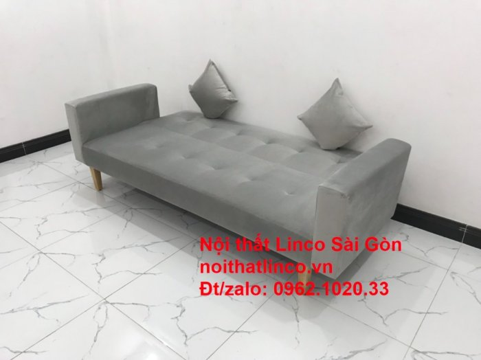 Bộ bàn ghế salon giá rẻ   sofa giường nằm nhỏ gọn xám nhung0