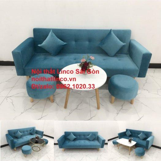 Bộ ghế sofa giường giá rẻ | salon xanh nước biển đẹp phòng khách14