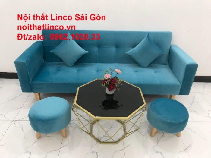 Bộ ghế sofa giường giá rẻ | salon xanh nước biển đẹp phòng khách13