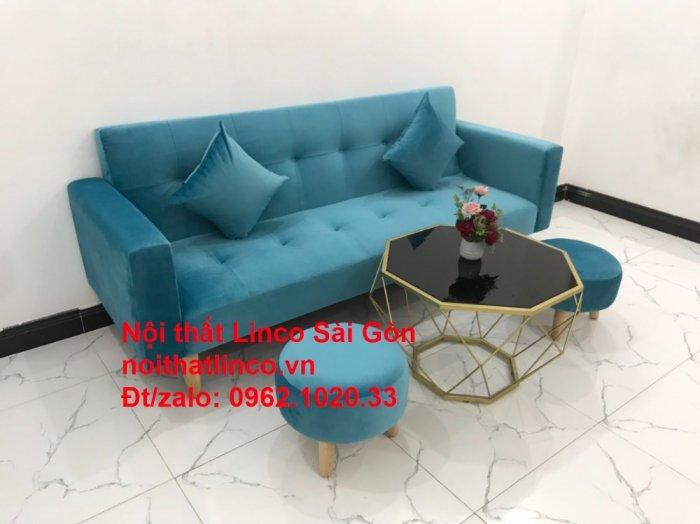 Bộ ghế sofa giường giá rẻ | salon xanh nước biển đẹp phòng khách11