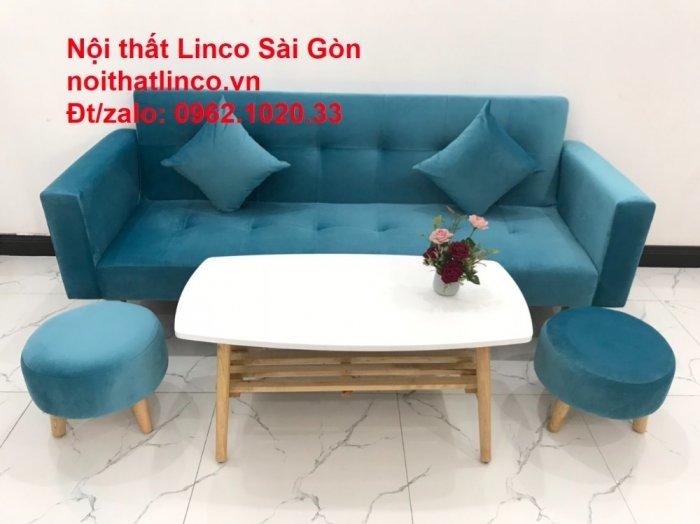 Bộ ghế sofa giường giá rẻ | salon xanh nước biển đẹp phòng khách10