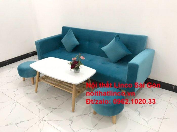 Bộ ghế sofa giường giá rẻ | salon xanh nước biển đẹp phòng khách9