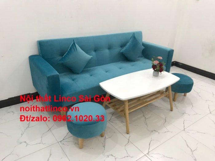 Bộ ghế sofa giường giá rẻ | salon xanh nước biển đẹp phòng khách8