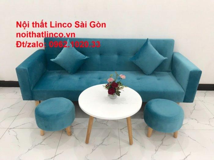 Bộ ghế sofa giường giá rẻ | salon xanh nước biển đẹp phòng khách7