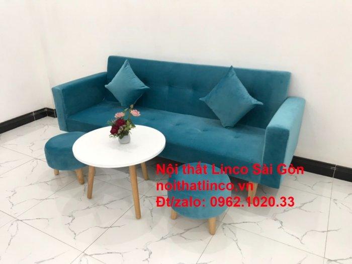 Bộ ghế sofa giường giá rẻ | salon xanh nước biển đẹp phòng khách6