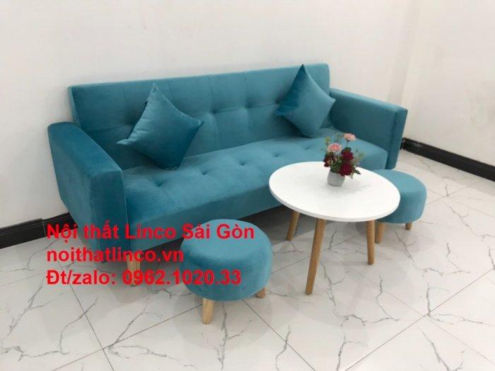 Bộ ghế sofa giường giá rẻ | salon xanh nước biển đẹp phòng khách5
