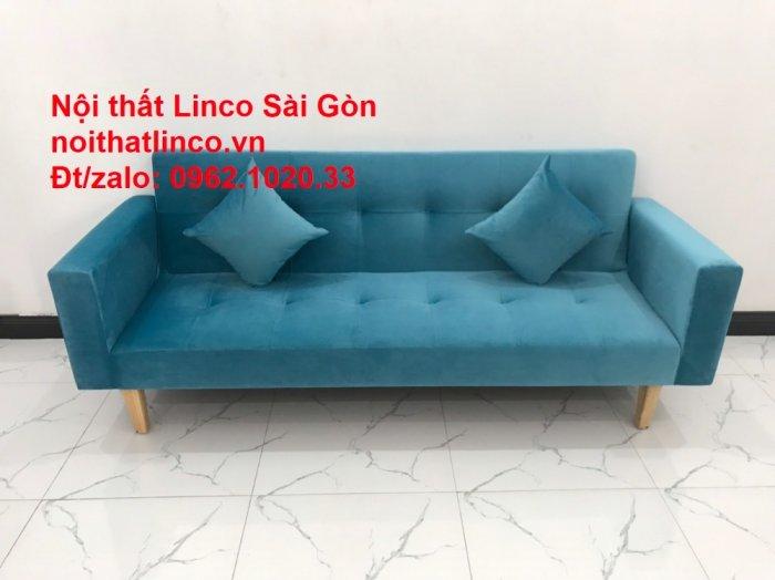 Bộ ghế sofa giường giá rẻ | salon xanh nước biển đẹp phòng khách4