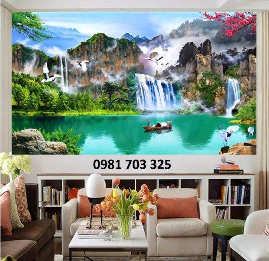 Tranh gạch phòng khách, tranh 3D phong cảnh sơn thủy hữu tình4