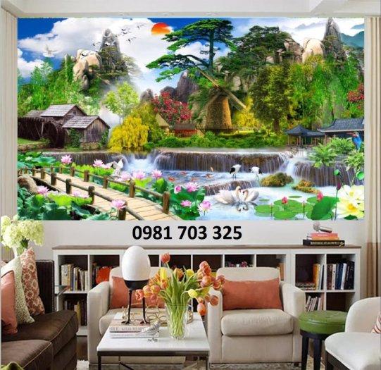 Tranh gạch phòng khách, tranh 3D phong cảnh sơn thủy hữu tình3