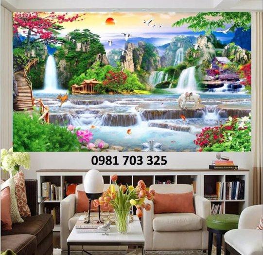 Tranh gạch phòng khách, tranh 3D phong cảnh sơn thủy hữu tình2