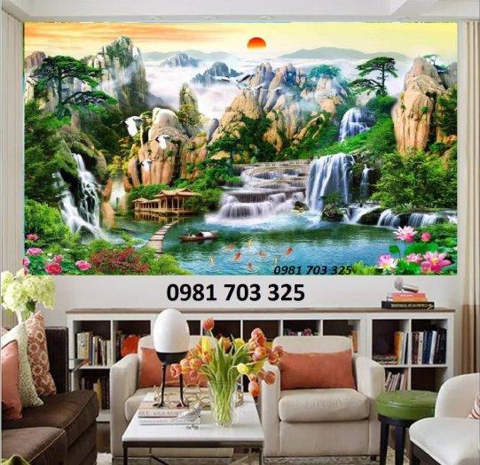 Tranh gạch phòng khách, tranh 3D phong cảnh sơn thủy hữu tình1
