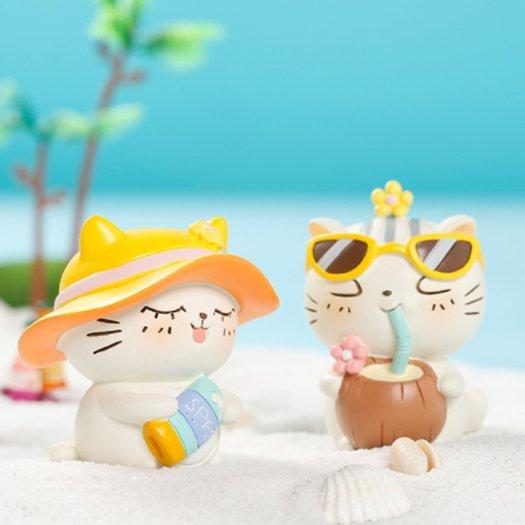 Tượng mô hình chú Mèo trắng tắm nắng cực đáng yêu19