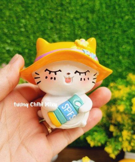 Tượng mô hình chú Mèo trắng tắm nắng cực đáng yêu5