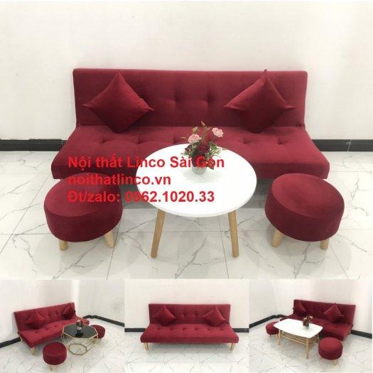 Bộ ghế sofa bed giường nằm màu đỏ mini nhỏ 1m7 giá rẻ đẹp Nội thất Linco Sài Gòn14