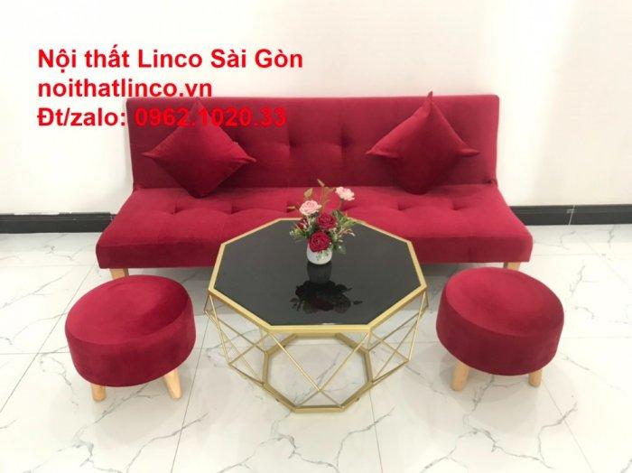 Bộ ghế sofa bed giường nằm màu đỏ mini nhỏ 1m7 giá rẻ đẹp Nội thất Linco Sài Gòn13