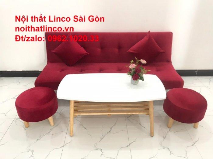 Bộ ghế sofa bed giường nằm màu đỏ mini nhỏ 1m7 giá rẻ đẹp Nội thất Linco Sài Gòn10