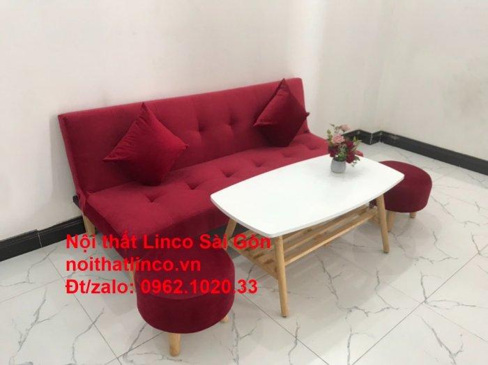 Bộ ghế sofa bed giường nằm màu đỏ mini nhỏ 1m7 giá rẻ đẹp Nội thất Linco Sài Gòn8